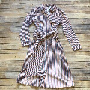J. crew • Striped Button Up Shirt Dress